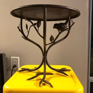 Cast iron bird in trees cake or plant stand